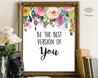 Be the best version of you, floral office decor typography inspirational wall decor quote printable, Motivational Wall Art