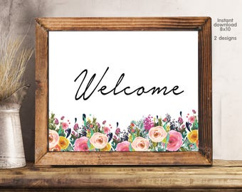 Welcome sign, welcome board, welcome floral office decor typography inspirational wall decor quote printable, Motivational Wall Art