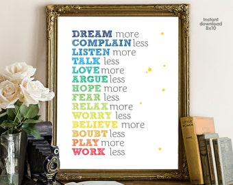 More and Less Inspirational , floral office decor typography inspirational wall decor, Motivational Wall Art