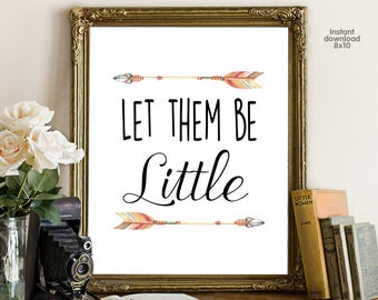 Let them bee Little, floral office decor typography inspirational wall decor, Motivational Wall Art, gift for boy