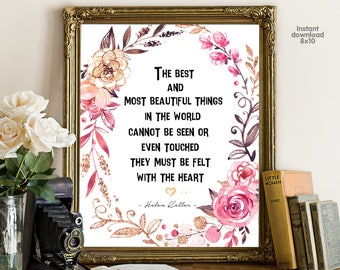 The best and most beautiful, floral office decor typography inspirational wall decor quote printable, Motivational Wall Art