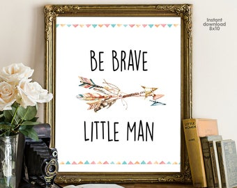 Be Brave Little Man, floral office decor typography inspirational wall decor, Motivational Wall Art, gift for boy