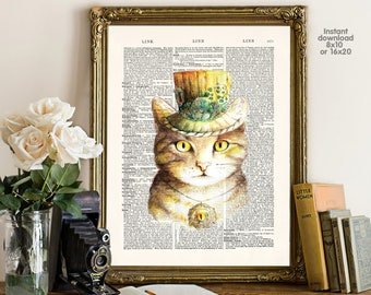 Cat decor - home decor - cat Poster -  Wall art, Poster Dictionary art, Dictionary Art - Print Wall Decor, Nursery Wall Art