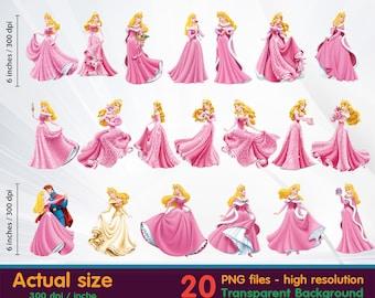 sleeping beauty clipart - Princess Aurora clipart -  Digital 300 DPI PNG Images, Photos, Scrapbook, Cliparts - Instant Download