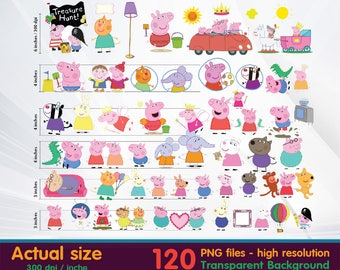Peppa pig clipart -  Digital 300 DPI PNG Images, Photos, Scrapbook, Cliparts - Instant Download
