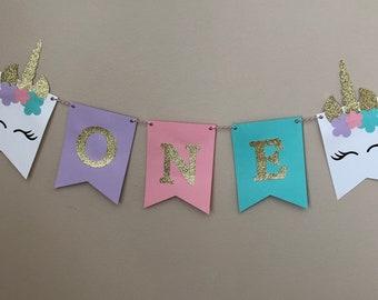1st Birthday Unicorn Banner