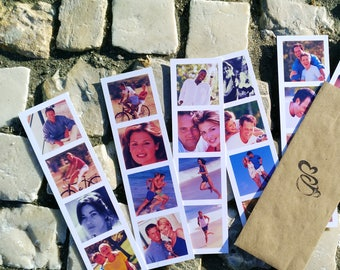 Set of 40 Custom photo strip cards Photo booth insta pixs Film strip collage made from your own pictures