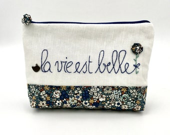 liberty cotton and linen kit, hand-embroidered pouch: life is beautiful, duck blue kit handmade in France, useful pouch