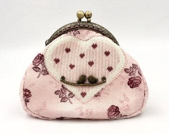 cotton embroidery heart wallet , romantic purse , cross stitch , bird charm , metal clasp wallet , decoration