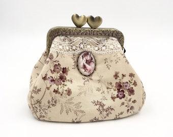 vintage purse with metal clasp; cotton and Calais lace purse, romantic purse, home decoration