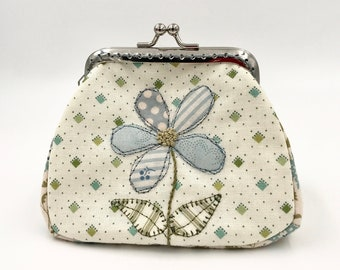 cotton purse with metal clasp, patchwork wallet and hand embroidery, flower pattern purse, handmade in France