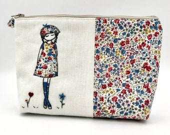 liberty cotton kit in patchwork and embroidered by hand, practical cotton pouch, handmade washable kit in France
