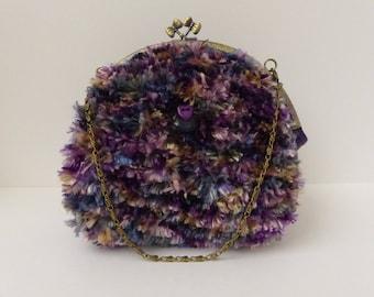 wool knitted look fur bag / / kawaii bag / / knitting bag / / metal clasp bag / / purple fur bag / / handmade bag