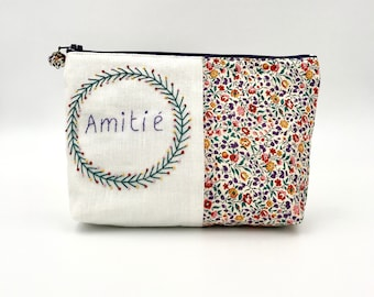hand-embroidered cotton kit, zipped pocket friendship pattern, makeup pouch, multi-purpose kit handmade in France, embroidery