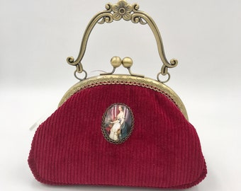 small red velvet evening bag with bronze metal clasp with handle, empress sissi, small evening bag, handmade bag in france