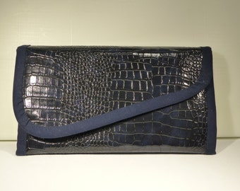 Midnight Blue croco leather look wallet / / handmade women's wallet / / triptych wallet / / faux leather blue croco