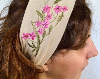Wide headband (3,14 inches) in soft jersey, BEIGE color with little rose embroidered flowers