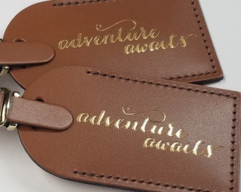 adventure awaits Luggage Tag Gifts - Traveler - Wedding - Birthday & More! Handmade in MA, USA @CurrysLeather