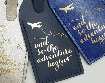 And So The Adventure Begins Luggage Tag Gifts - Traveler - Wedding - Birthday & More! Handmade in MA, USA!