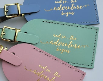 and so the adventure begins Luggage Tag Gifts - Traveler - Wedding - Birthday & More! Made in the USA