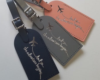 And so the adventure begins! Luggage Tag Gifts - Traveler - Wedding - Birthday & More! Made in the USA