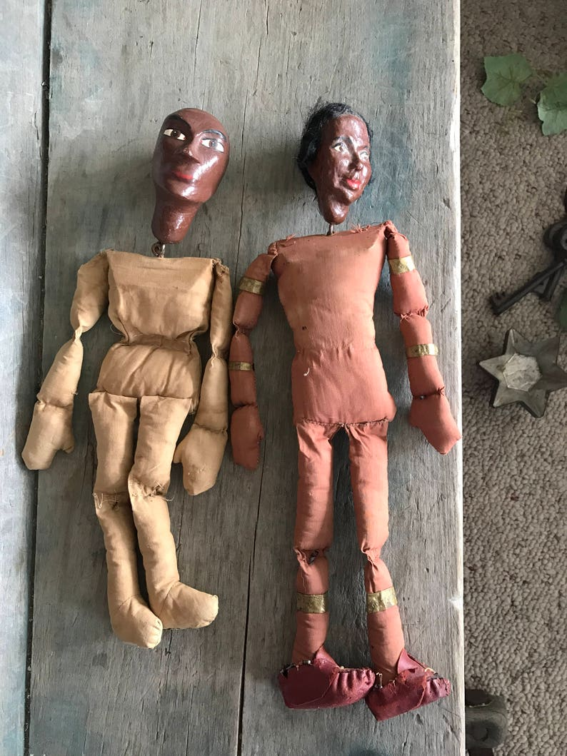 Primitive Marionette Dolls with Beaded Moccasins and Cigar Band Ornaments Set of 2 Vintage Marionettes