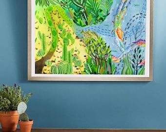 Fish Watercolor, Cactus Painting, Cactus Wall Art, Fish Painting, Watercolor Fish, Watercolor Cactus, Wall Art Painting, Nursery Decor