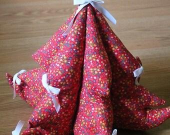 Vintage Stuffed Christmas Tree-Tabletop Christmas Tree-Cloth Christmas tree-Holiday decor-Red Christmas decor