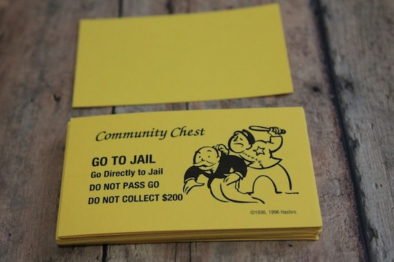 Monopoly Yellow Community Chest Cards Vintage Monopoly Game Etsy
