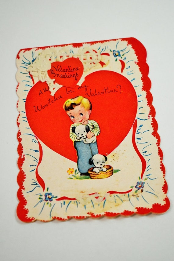 Vintage Valentine\u0027s Day card,Boy and puppies,Vintage cards,Vintage  Valentine decor,Valentine Cards,Paper Ephemera,Febuary 14th