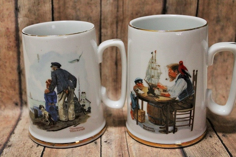 72769ef75a4 Norman Rockwell Stein mug-Norman Rockwell Coffee Cup-Sea set of 2-Vintage  Norman Rockwell set-Collectible glass mug