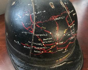san francisco 7a079 4cffd Vintage 1930 s driving helmet with unique hand painted route map Unique  item.