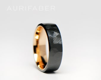 Forged zirconium ring with gold inside. Rough surface zirconium band with yellow gold or rosé gold. Two-tone band. 7mm wide.