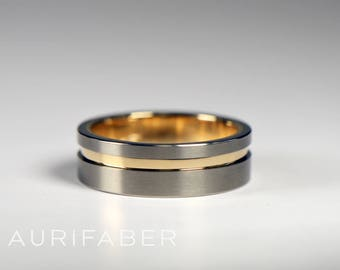Flat titanium ring with gold groove and inside. Matte titanium ring. Two tone design. Titanium gold ring. Nordic handmade from Finland.