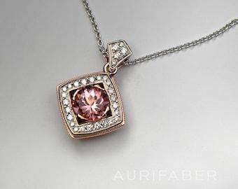 Pink Tourmaline pendant with diamonds. 14k white gold and red gold necklace with pink tourmaline and diamonds. Unique jewelry.