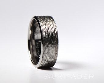 Titanium ring. Hammered mens ring. Rough matte finish. Heavy duty for men. Textured titanium. Hammered finish ring.