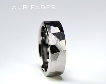 Masculine titanium ring for men. Bigger facets. Hand made first class titanium ring with rough finish. Manly wedding ring.