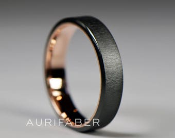 Zirconium ring with red rose gold inside. Thin zirconium band, rosé gold. Two-tone ring. Black engagement band for men. 5mm wide.