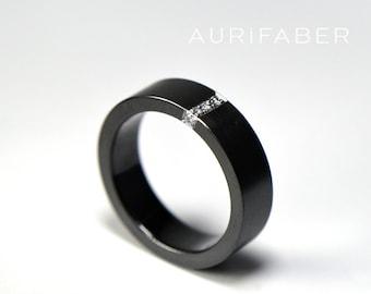 Zirconium ring with diamonds. Black zirconium band and diamonds. 5 x 0.01ct tw/vs brilliants. Satin matte texture. 5mm wide.