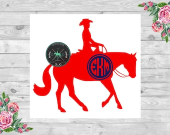 Loping Western Pleasure Horse Monogram Vinyl Car Decal - Equestrian Sticker - Quarter Horse, Reining, Barrel Racing, Hunt Seat, English