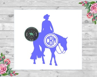 Western Pleasure Front Facing Monogram Vinyl Car Decal - Equestrian Sticker - Quarter Horse, AQHA, Reining, Barrel Racing, Hunt Seat