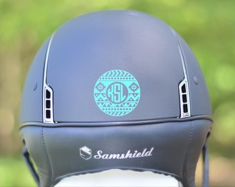 Equestrian Riding Helmet Monogram Decal - *UPDATED* Over 30 Designs - Variety of Colors, Fonts, and Styles