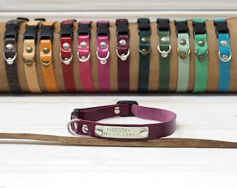 Cat Collar, cat collar breakaway, Soft  leather cat collar, breakaway cat collar, breakaway collar, breakaway clasp, personalized collar.