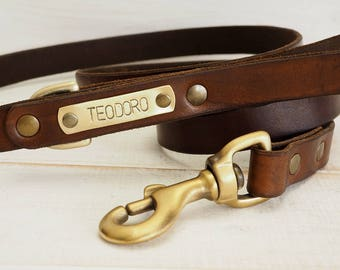 Dog Leash, Leather Dog Leash, Dog Leash Leather, Personalized dog leash, Dog name plate, Strong Leather Dog Leash, dog lead