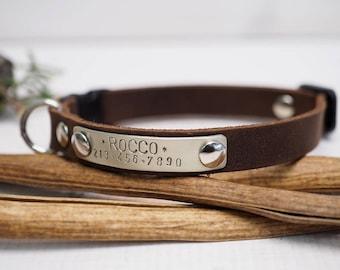 Cat collar, leather cat collar, Crazy horse collar, personalized cat collar, pet collar, breakaway collar, personalized collar, Gift for pet