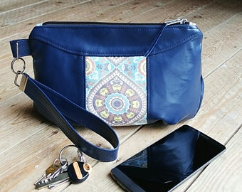 Navy Blue Faux Leather Clutch Bag, Ladies Clutch Purse, Evening Bag, Small Ladies Bag, Prom, Wedding, Graduation, Gift for Her