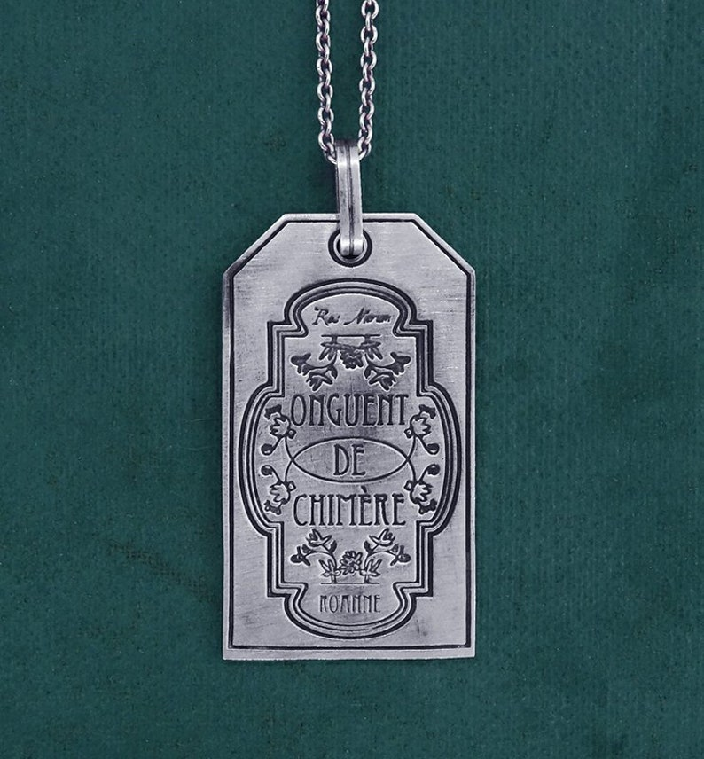 Antique pharmacy label pendant chimera ointment sterling image 0