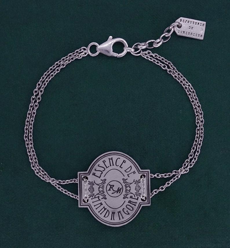 Mandrake potion label bracelet witch magic spirit poison 925 image 0
