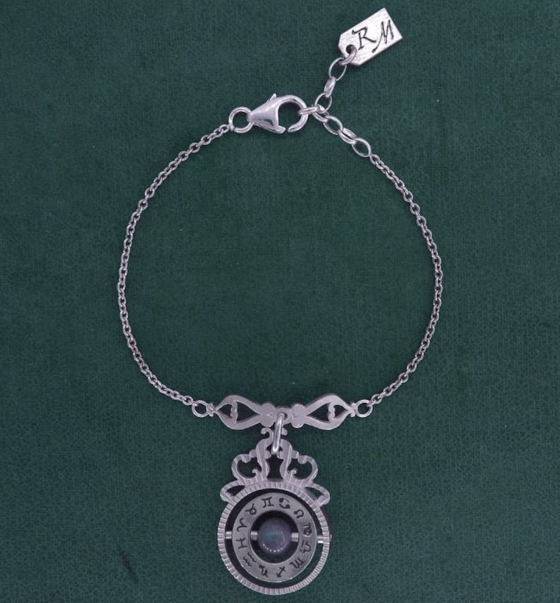 Bracelet astrolabe or time turner steampunk apatite jewelry image 0
