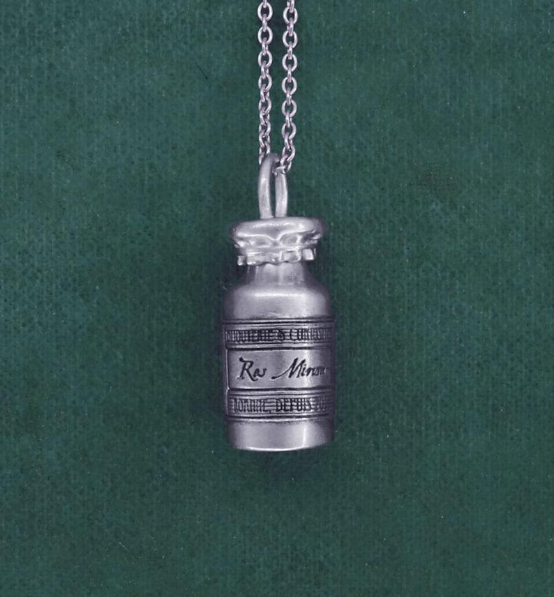 Pendant poison vial antique bottle silver 925 handmade in image 0